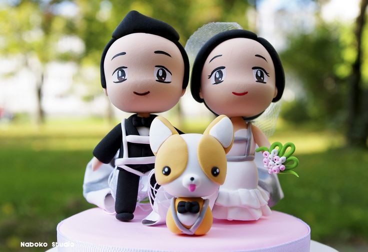 Chibi Wedding Cake Topper with Dog and Parachutes / Wedding Centerpiece by Naboko Studio