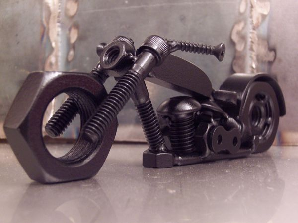 nut and bolt art. motorcycle. welded.