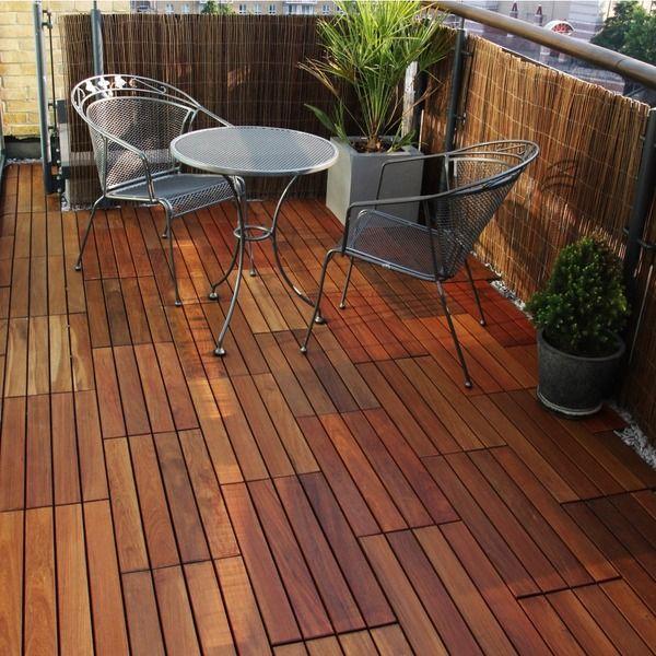 Decking Tiles 12 x 24-inch 10 sq ft Ipe Wood Flooring Tiles (Pack of 5)