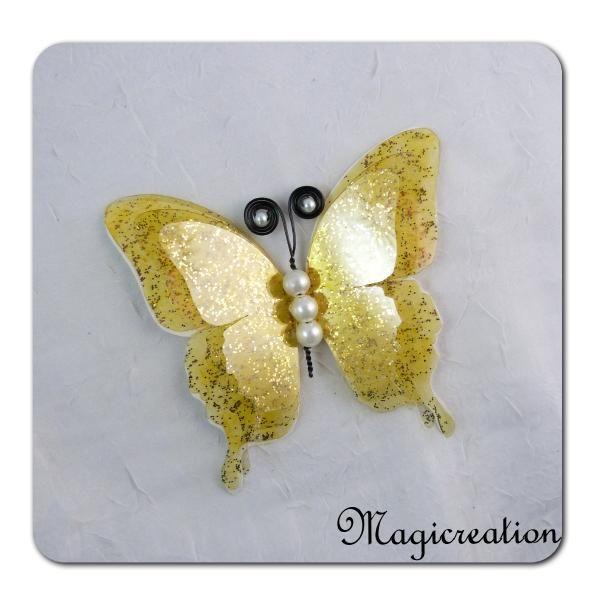 papillon GM attache 3D jaune
