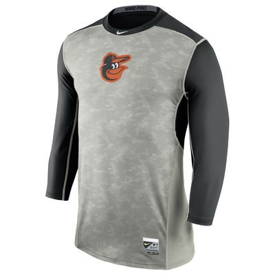 Baltimore Orioles Nike Authentic Collection Hypercool Three-Quarter Sleeve Performance T-Shirt - Gray/Black