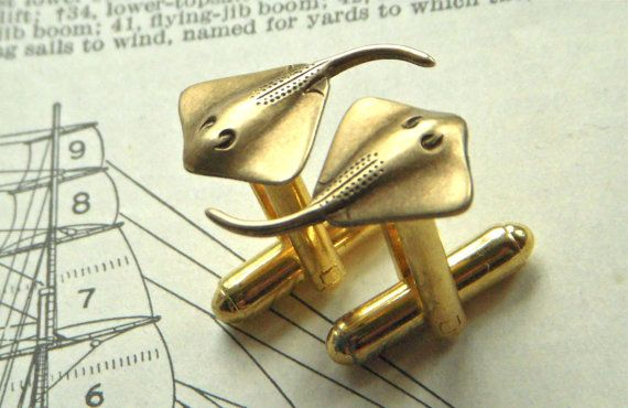 Men's Cufflinks Nautical Bat Ray Fish Ocean Sealife Stingray Vintage Inspired Brass Victorian Steampunk Style Cuff Links & Accessories on Etsy, $35.00
