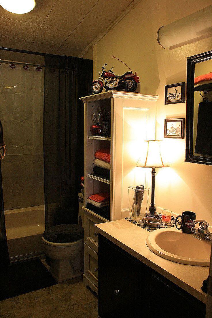 harley davidson bathroom on a budget even the light