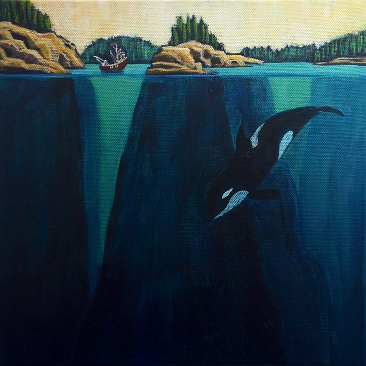 """orca playground"" 10x10"" acrylic on canvas"