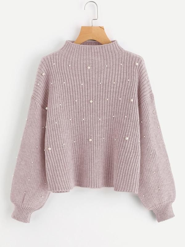 a2900d879425 Pink Stand Collar Pearl Embellished Drop Shoulder Ribbed Sweater in ...