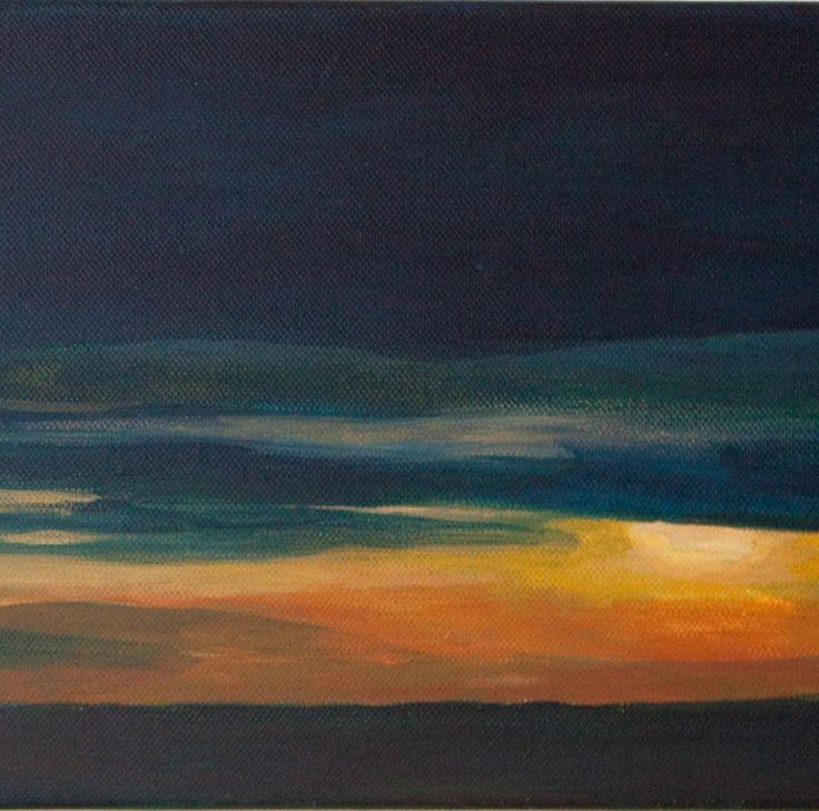 Svítání z Tábora - Tábor Český Ráj, Lomnice nad Popelkou akrylová malba na plátně, , ozměr plátna 60 x 20 cm
