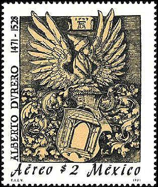 Mexico 1971. Air Post stamp. Ex Libris executed in wood cut by Durer in his early years.