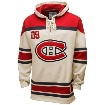 Old Time Hockey Montreal Canadiens Lace Jersey Team Pullover Hoodie - Natural/Red