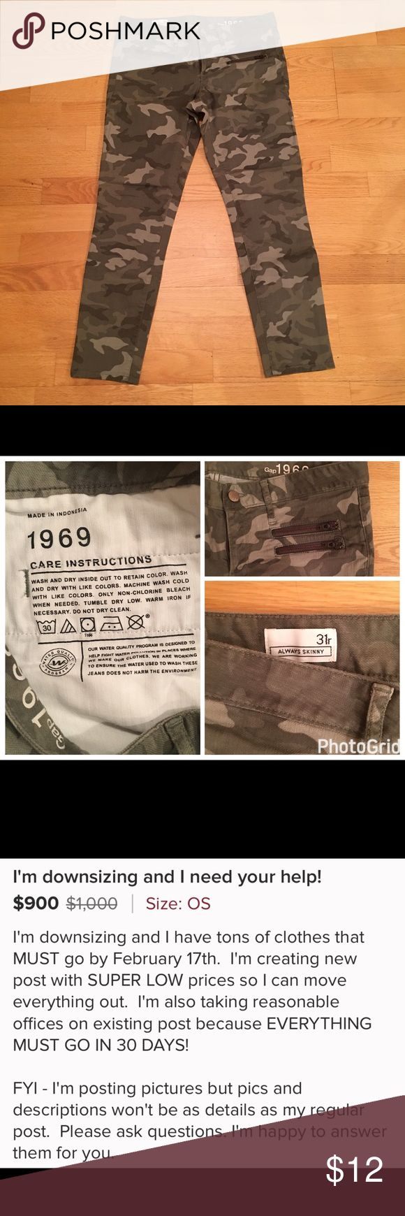 DOWNSIZING SALE!  Gap camouflage jeans camouflage ankle length pants with zipper details. DOWNSIZING SALE! Everything must go in 30 days! GAP Jeans Skinny