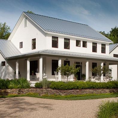 Farmhouse exterior white siding gray tin roof for White modern farmhouse
