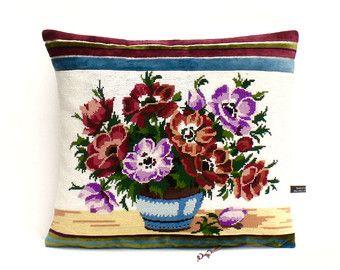 Vintage French Large Tapestry Needlepoint Floral Vase Crochet