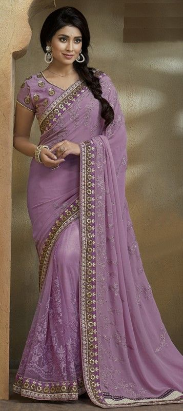 186827 Purple and Violet  color family Embroidered Sarees, Party Wear Sarees in Faux Georgette fabric with Lace, Machine Embroidery, Thread work   with matching unstitched blouse.