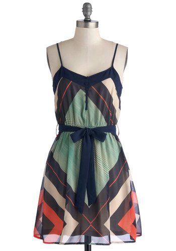 Sitting Courtside Dress - Chiffon, Short, Woven, Multi, Print, Buttons, Belted, Casual, A-line, Spaghetti Straps, Good, Summer