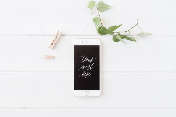 iPhone 6 styled mock up - Psd + Jpeg by White Hart Design Co. on @creativemarket