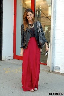 Long red skirt with leather jacket #winter #maxi #wintermaxi