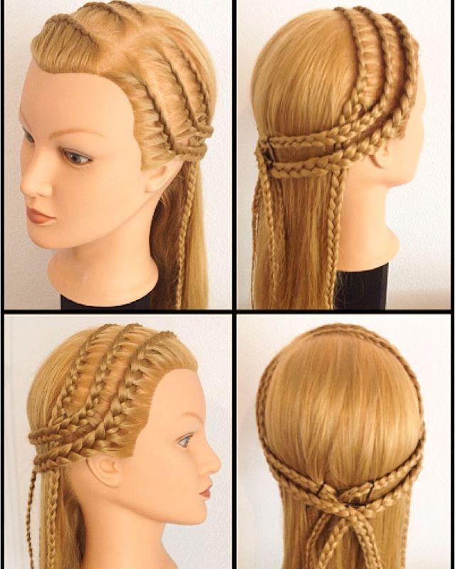 Drei dünne einseitige französische Haarbänder  Three thin #lacebraids into a big #lacebraidheadband #flechtfrisur #flecht_hg #geflochten