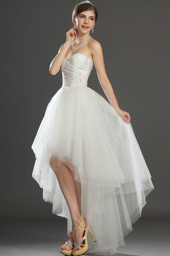 hi low wedding dresses | Tulle Applique High Low Ivory Wedding Dresses 2013