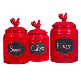 Picture of Vintage Red Rooster Chalkboard Canister - Set of 3