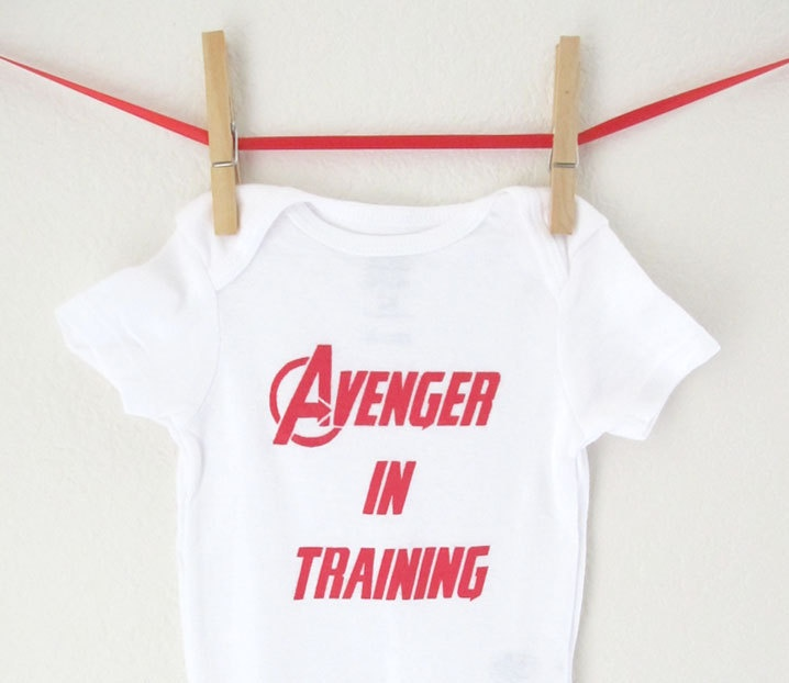 Superhero Onesie - Avenger in Training Baby Avengers Bodysuit Creeper Super Hero Shirt. $15.00, via Etsy.