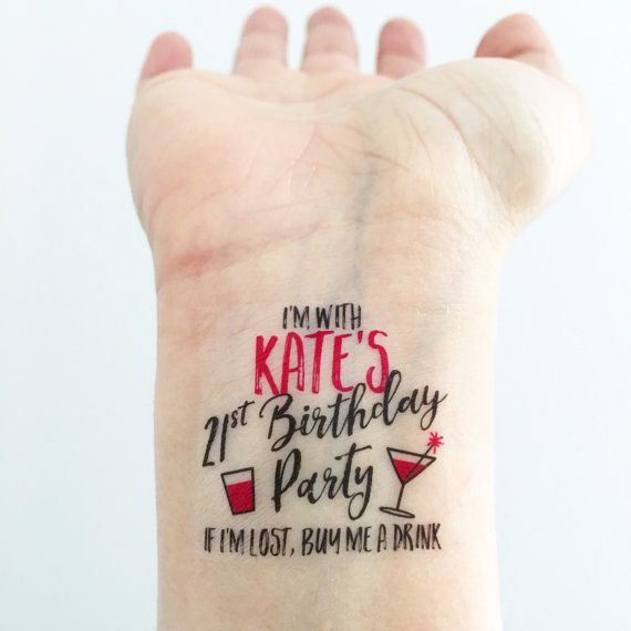 ** Please read instructions before ordering ** 15 Custom Temporary Tattoos perfect for a Birthday night out! Wear them on your wrists and go get em, girls! Youll get 14 tattoos for the girls, and 1 special one for the birthday girl saying Its MY __ birthday party, because the birthday girl needs to feel extra special! Packaged up super cute with a little sponge, so you can apply on the go! PLEASE TELL US THE BIRTHDAY GIRLS AGE!  * Please write the birthday girls NAME and AGE in the notes…