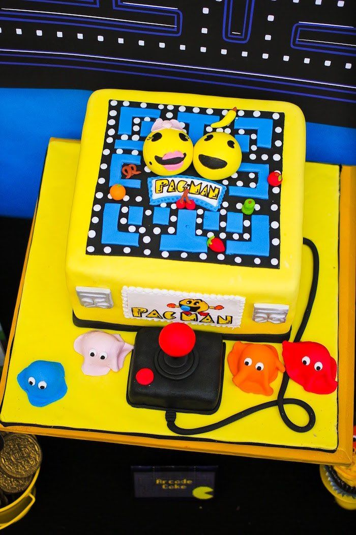 Pac Man-inspired Cake from a Pac Man Themed Birthday Party  #gaming #cakes #desserts