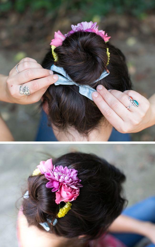 Fresh flower bun wrap and bracelet DIY - Henry Happened