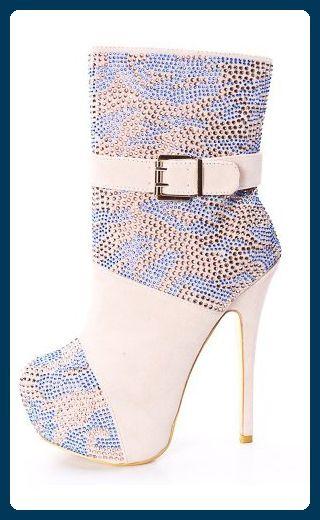 Onlymaker Damenschuhe High Heels Ankle Knoechel Studs Stiletto Boots mit Plateau Wildleder Natural EU46 - Stiefel für frauen (*Partner-Link)