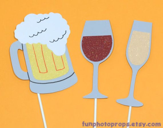 Drinks Photo Booth Prop Collection - 3 Piece Photobooth Set - Photobooth Props on Etsy, $9.95