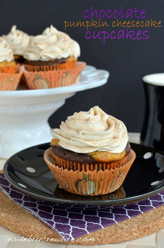 Chocolate Pumpkin Cheesecake Cupcakes - chocolate mocha cake with a pumpkin cheesecake in cupcake form  http://www.insidebrucrewlife.com