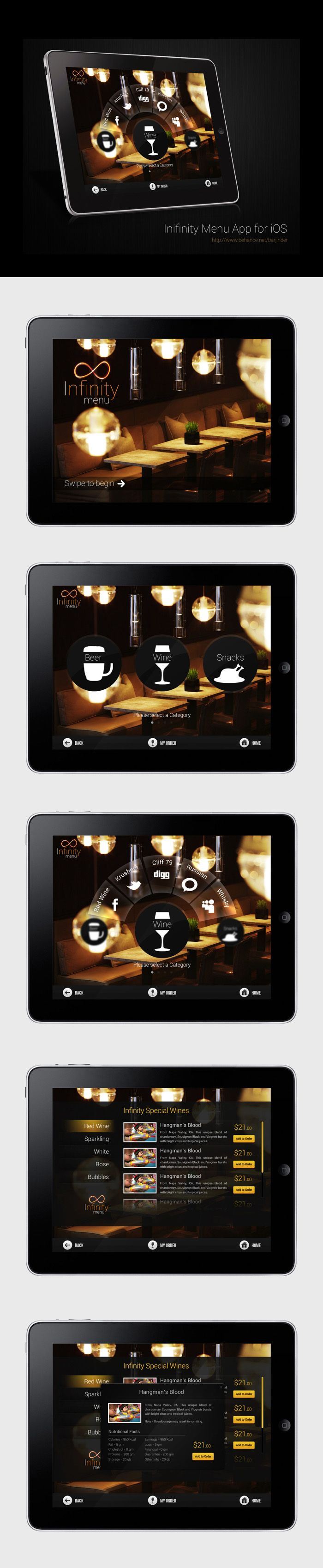 Infinity Menu App for iPad by Barjinder Singh, via Behance  ***  Here is the UI that I designed some time back for a client. It is basically a restaurant menu app for iPad named Infinity Menu. I have tried to make it look modern but at the same time, it should feel royal and premium. Using circular menus for the first time. Hope you guys will like it.
