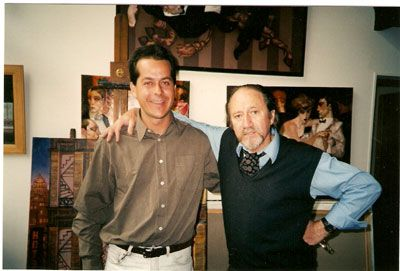 Com Juarez Machado, no atelier do artista, em Abesses, Paris.