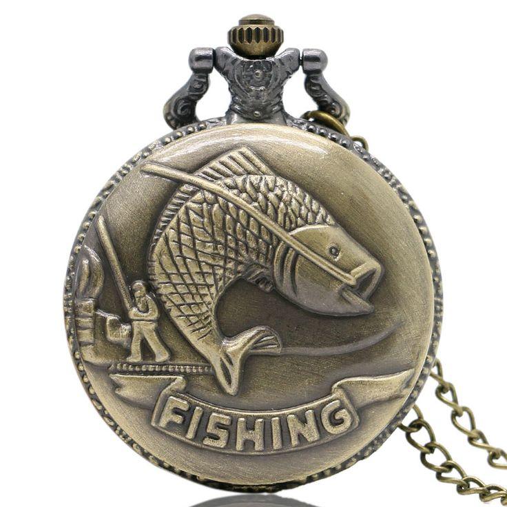Bronze Fishing Angling Quartz Antique Pocket Watch for Men and Women