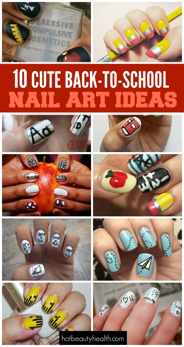 10 cute back to school nail art design ideas to diy before starting the new year.
