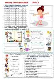 English worksheet: Muzzy in Gondoland - Part 3- 5 tasks - 2 pages - editable