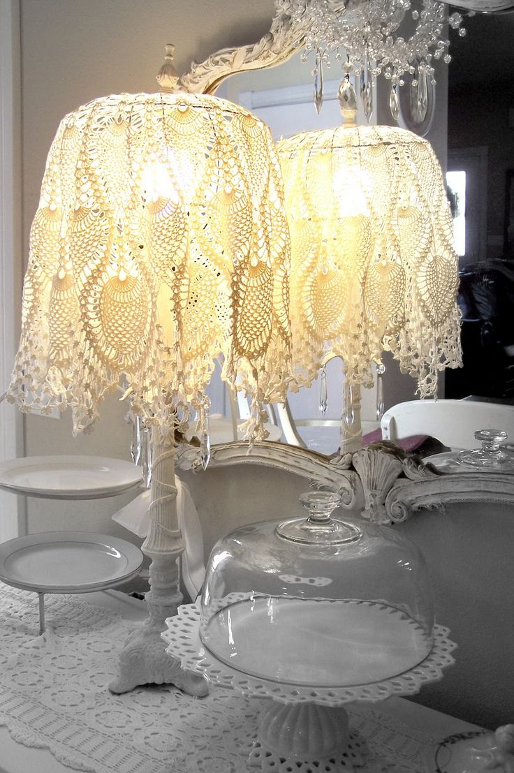 40 best doily lamp images on pinterest doily lamp crochet pretty lacy lamp shade olivias romantic home shabby chic bedroom boudoir update arubaitofo Images