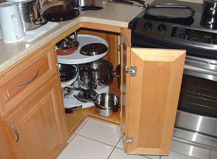 Type of kitchen storage cabinet - standard round Lazy Susan for corner kitchen cabinets