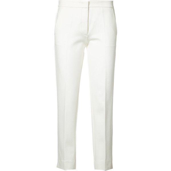 Derek Lam cigarette trousers ($735) ❤ liked on Polyvore featuring pants, white, viscose pants, derek lam, cigarette pants, white cigarette trousers and white pants