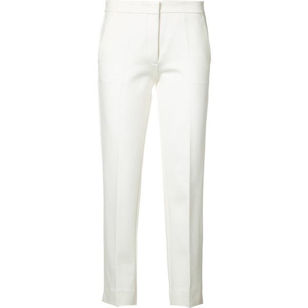 Derek Lam cigarette trousers (10.003.495 IDR) ❤ liked on Polyvore featuring pants, white, rayon pants, white cigarette trousers, white trousers, white cigarette pants and cigarette pants