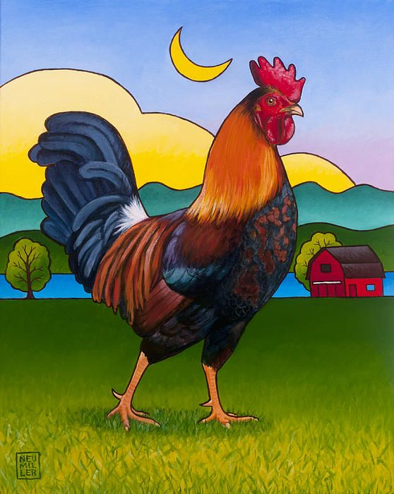Rufus the Rooster Painting by Stacey Neumiller