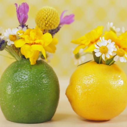 Lemon and Lime Flower Vases