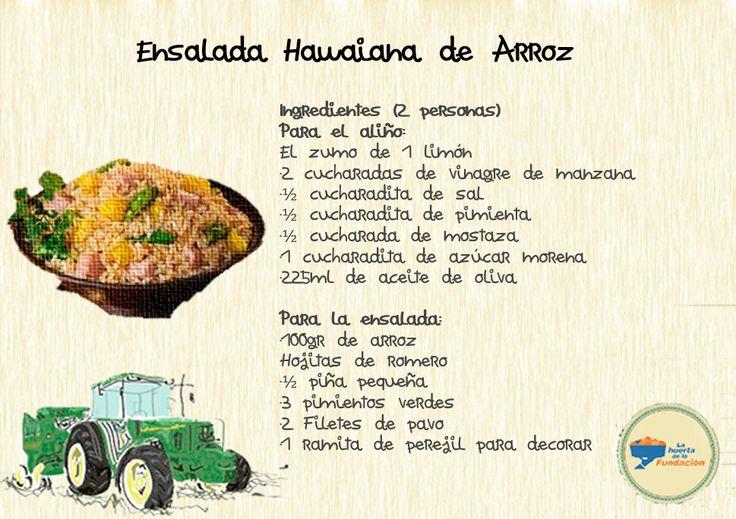 Receta ecológica. Ensalada hawaiana de arroz
