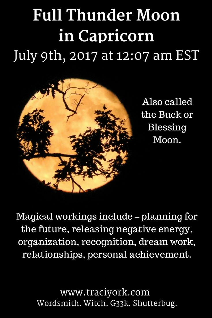 Sunday July 9th, the Full Thunder Moon in Capricorn arrives. Here is the graphic I created for the occasion. Bright Thunder Moon Blessings!