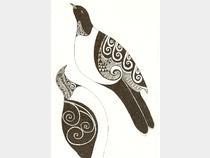 'Kereru mates'  original in pen by Jan FitzGerald