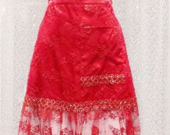 Check out Gift for New home Owner, Wedding Apron RED Fancy LACE APRON,  Ruffles Half apron, New Home Gift, Pretty One of kind gift for Mother in Law on blingscarves