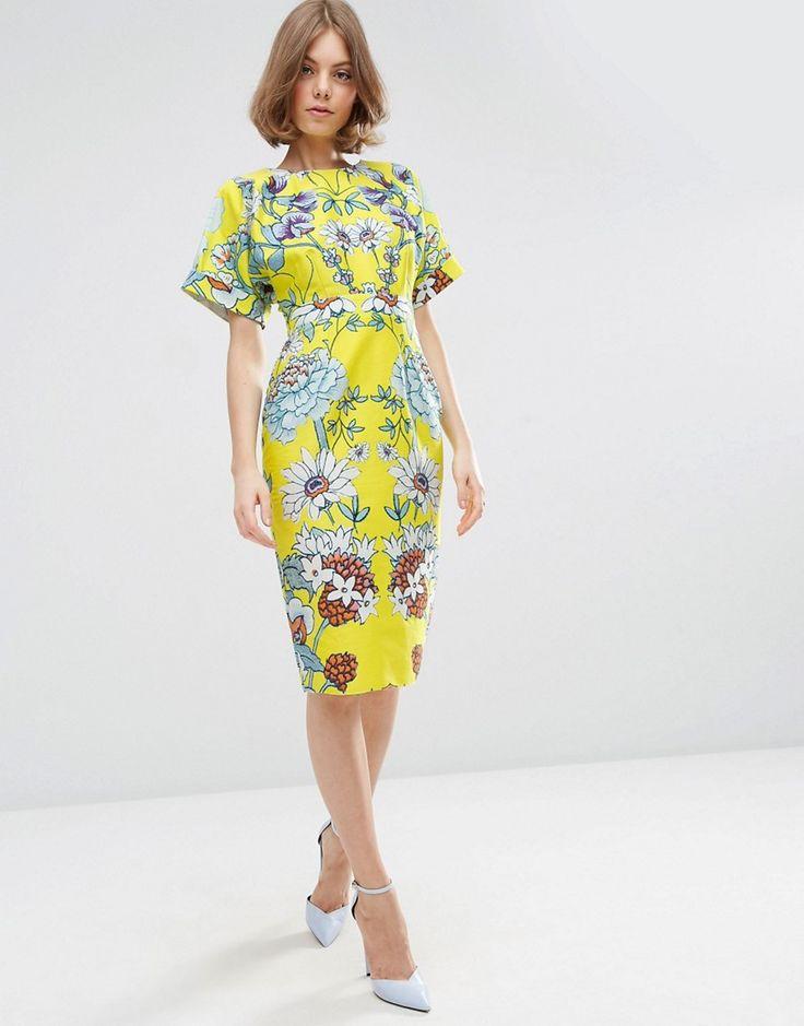 ASOS - Robe fourreau à imprimé floral symétrique