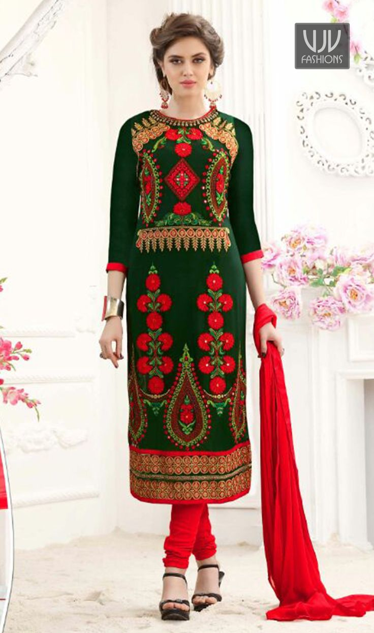 Fabulous Green Color Georgette Designer Salwar Suit  Precise attractiveness comes out through the dressing trend with this green color georgette designer salwar suit. The embroidered and lace work seems chic and excellent for party.