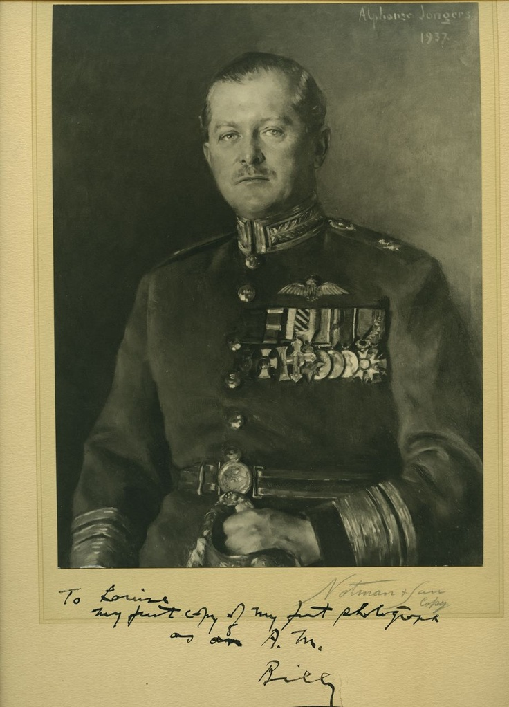 """Rare inscribed and  signed c1938 photo of AIR MARSHAL (AM) [Billy] Bishop. William A. """"Billy"""" Bishop (1894-1956). 7"""" x 9 ¼"""" photograph of a painting of Bishop, mounted to 10 ¼"""" x 13 ¼"""" There is a small tear in the lower margin that is repaired on the reverse with tape, there is no show through.   This 1937 portrait of Honorary Air Marshal Bishop that was photographed was painted by Alphone Jongers (1872 - 1945), oil on canvas. $1,350 USD"""