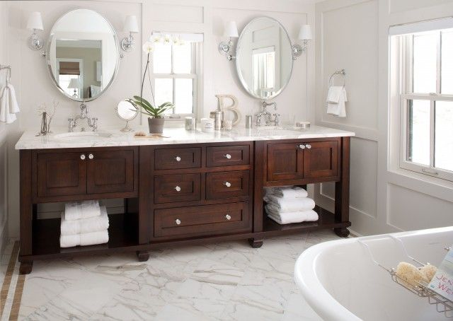 I love  beautifully crafted furniture piece used as a vanity with undermount sinks and a nice slab of marble.  I love how the floor marble is broken by a tile border to add interest and colour.Bathroom Design, Bathroom Vanities, Sinks, Bath Vanities, Traditional Bathroom, Bathroom Ideas, Master Baths, Masterbathroom, Master Bathroom