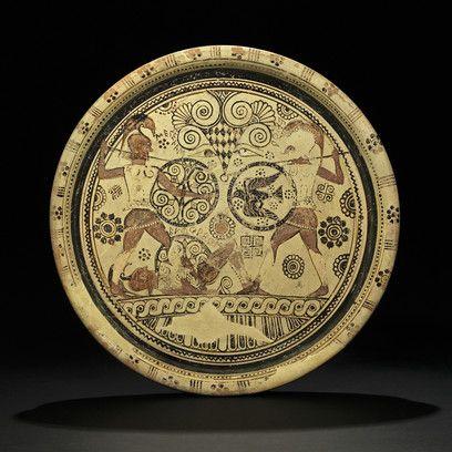 Plat d'Euphorbe - Combat d'Hector et Ménélas sur le corps d'Euphorbe, Argile…