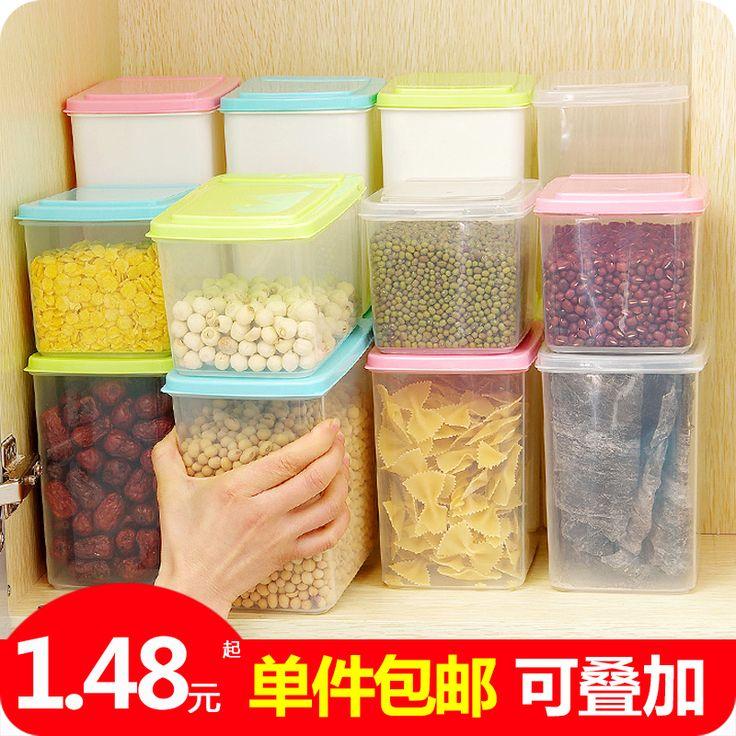 Стекируемые раскладной запечатанные консервные банки сохранение коробка кухня пластик сухой зерна хранение бак хранение бак-Таобао